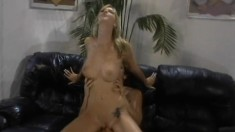Brooke Banner chews on his big dick before taking it up her bald cunt