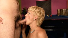 Short-haired Blonde Granny Gets Nailed By A Horny Young Buck