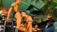 Three slaves are set free to indulge in some gay sucking and ass fucking