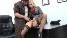 Joey has sex with his gorgeous blonde boss Ashley Fires in the office