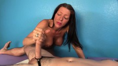 Stacked Masseuse Sensually Works Her Marvelous Hands On A Long Prick
