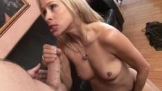 Blonde Lea De Mae sucking big cock