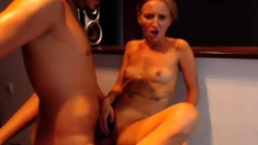 Playful blonde babe with pierced tongue gives blowjob in POV