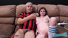 Lara has him sucking her nipples and she jumps on top of his dick driven by excitement