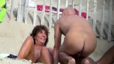 Public Beach Sex Of A Voyeur Horny Couple