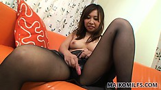 She gets fondled and toyed, then strips down to her panties to toy more