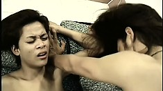Skinny asian lad gets his hairy ass slammed balls deep by his BF