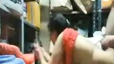 Arab couple fucking in the store room
