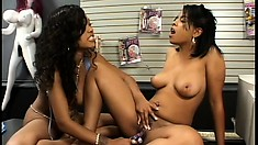 Black whores start at the feet and lick their way up to pussy
