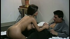 Stacked Asian babe has a guy licking and fucking her pussy just like she desires