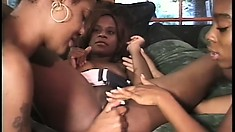 Dirty black babes get wild on each other with their big toys