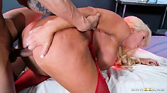 Her snatch gets pleased like she desires before he sprays her tits with his cum