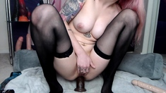 Stunning anal babe licking toys ready for hot ass action