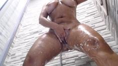 Big boobs milf masturbates with her dildo