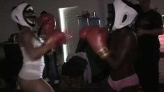 Gorgeous boxing girls love to bare their hot tits as they fight