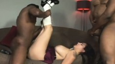 Luscious young brunette has a lot of fun with four huge black cocks