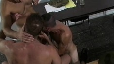 A trio of hunky dudes get down to some nasty hard assfucking