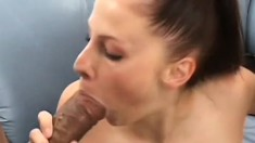 Gianna's big titties bounce as she rides these enormous ebony poles